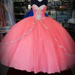 Wholesale History Coral Quinceanera Dresses New Unique Cheap Quinceanera Gowns Ruffles Layers Tulle Sweetheart For Years Party Ball Gowns