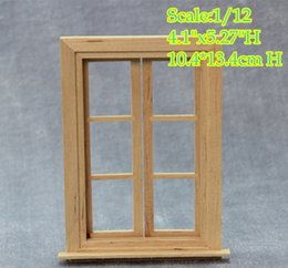 Wholesale DIY scale Dollhouse Miniature Window Frame Double Hung Panel Glass Frames