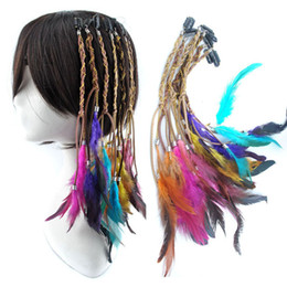 Wholesale 12 quot multi color feather hair clip hair extension headdress headband headwear band accessory masquerade hairpiece