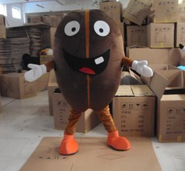 Wholesale Coffee Bean Halloween Costume - Coffee Bean Mascot Brown Coffee Beans Costume Cartoon Customized Halloween Mascots Fancy Dress Adult party Performance Clothing