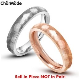 Wholesale Stainless Steel Rose Gold Silver Hexagon Brushed Lovers Ring Couples mm Wedding Band Engagement Jewelry Size R719