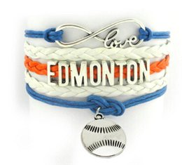 Wholesale infinity love EDMONTON Los Angeles letter bracelet handmade Baseball retro bracelet Braided rope Baseball Friendship Bracelet sports teams