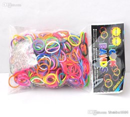 Al por mayor - bandas de silicona pulsera de la venda DIY de la muñeca del arco iris Telar Kit para niños (600 PC + 12 bandas S clips de gancho 1) bandas de goma multicolor desde banda de goma al por mayor del kit de pulsera proveedores