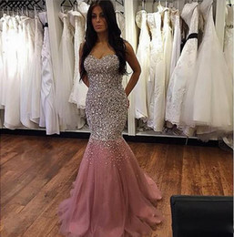 Shinning Beaded Mermaid 2016 Prom Dresses Sweetheart Tulle Luxury Celebrity Pageant Dress Sweep Train Lace Up Back Mermaid Prom Dress Long