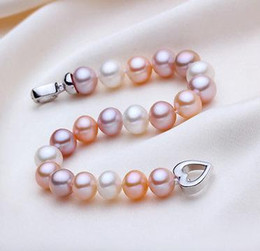 Charming 9-10mm south sea round multicolor pearl bracelet 7.5-8inch 925 silver clasp