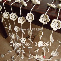Wholesale cotton lace curtain door window cover small flower air curtain new households tableware