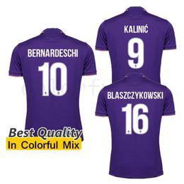 Wholesale 1617 Florence Home Purple Soccer Jersey ACF Fiorentina Football uniforms M gomez Bernardeschi Blaszczykowski Kalinic vestiti di calcio