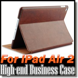 Wholesale For IPAD AIR2 Leather Case High Quality Comfortable Hand Feeling Ipad Air Flip Stand Shell Cover Simple Noble Design High end Business