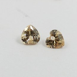 5x5mm AAA cubic zirconia champagne heart drill hole loose gem stones