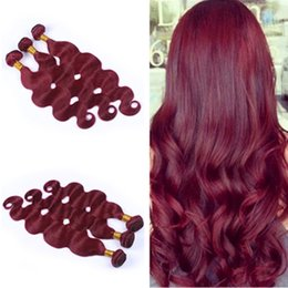 New Fashion Wine Red Pure Color 3 Bundles Human Hair #99J Brazilian Body Wave Hair Weaves Weft Burgundy Hair Extensions 3Pcs Lot