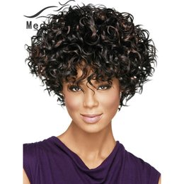 Free shipping Curly Synthetic pastel wigs for women Modern shag hairstyles short curly black wig with bangs for black fashion women