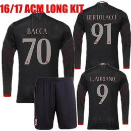 Wholesale 2016 Long Sleeve AC Milan jersey Milan Soccer Jersey Bacca Honda Montolivo Bonaventura Home Red men AMC Football Full Sets