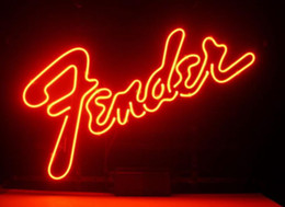 Wholesale Business Custom NEON SIGN board For Fender Electric Bass Guitar Brand REAL GLASS Tube BEER BAR PUB Club Shop Light Signs quot
