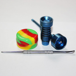 14mm & 18mm Gr2 Colorful Titanium Nail Tool Set Domeless Titanium Nails with Carb Cap Tool Slicone Jar Container
