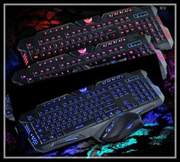 Wholesale Luminous Backlit Keyboard - Free shipping backlit keyboard luminous keyboard USB cable keyboard mouse game suits Three color backlighting mouse and keyboard set