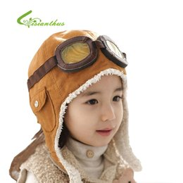 Wholesale Wool Baby Winter Hats Children Pilot Hat Caps Boys Flight Caps Winter Baby Hat Kids Warmer Earflap Beanie PM011 Christmas Gift