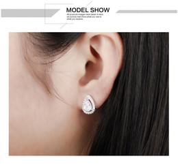 Clear Cubic Zirconia Waterdrop Elegant Stud Earrings For Woman Fashion Platinum Rose Gold Plated Women's Earrings Jewelry Gift