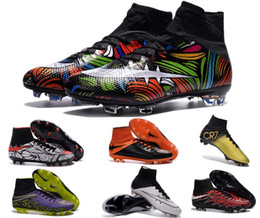 Wholesale New Arrivals youth soccer cleats superflys men soccer cleats shoes high top soccer boots Neymar outdoor football shoes discout shop colors
