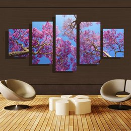 5p modern Home Furnishing HD picture Canvas Print art wall of the sitting room children room decoration theme -- Purple leaves #37