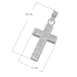 CZ Micro Pave Brass Pendant Cross Platinum Plated Fashion Women's Sweater Chain Charm Micro Inlay Cubic Zirconia 13x25mm Hole:Approx 3mm