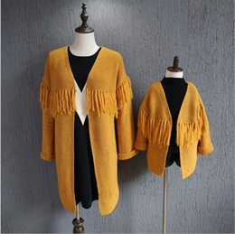 Wholesale Mother and Kids Girls Clothing Baby Girl Knit Tassel Cardigan Mother Knitting V neck Sweater Family Christmas Clothing