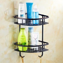 Wholesale New designed European style luxury brass black bathroom rack shelf triangle basket bathroom shelf