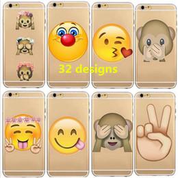 2017 cas transparents pour iphone 4s Émoi ultra-clair transparent TPU cas transparent smail visage recouvre souple pour iphone 4 4s se 5 5c 5s 6 6s plus 32 conception en gros gratuit DHL cas transparents pour iphone 4s promotion