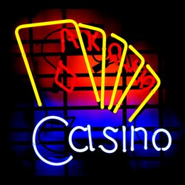 CASINO POKER CARDS Real Glass Neon Light Sign Home Beer Bar Pub Recreation Room Game Room Windows Garage Wall Sign
