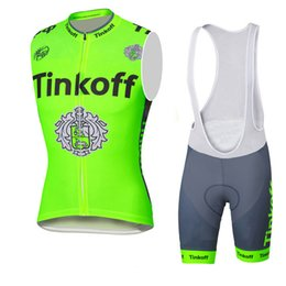 Wholesale 2016 Tinkoff Summer Style Vest Sleeves Breathable Bike Clothing Quick Dry Bicycle Sportwear GEL Pad Bike Bib Pants Fluo green yellow