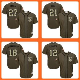 Mets 27 Jeurys Familia 21 Lucas Duda 18 Darryl Strawberry 12 Juan Lagares Green Salute to Service Stitched Baseball Jersey Top quality Shirt
