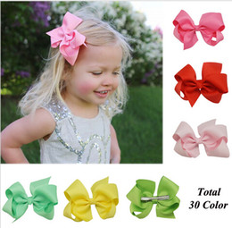 """60 Pcs lot 4"""" Solid grosgrain ribbon Hair Bow With Clip For Baby,Boutique Ribbon Hair Bow For Kids,Classic Baby Hair Bow 30 Colors"""