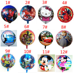 Wholesale 45x45cm Inch Cartoon Helium Foil Balloons Spider Man Mickey toy Ballons For Kids Birthday Wedding Party Decoration