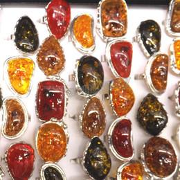 New Arrival Imitation Amber Rings Bezel Setting Costume Rings Big Size Rings For Men 50pcs Lot Wholesale