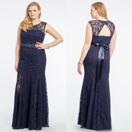 Plus Size Navy Blue Lace Evening Dresses 2016 New Jewel Open Back Beaded Sash Floor Length Formal Dresses Custom Made China EN92210
