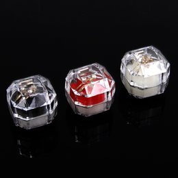 Wholesale 6pcs Transparent Imitated Crystal Ring Box Acrylic Jewelry Box Stud Earrings Gift Boxes Jewelry Box Dustproof Plug Boxes