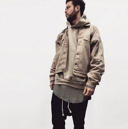 Hero stand khaki denim ripped jeans jacket mens hip hop swag street man over size bomber jacket