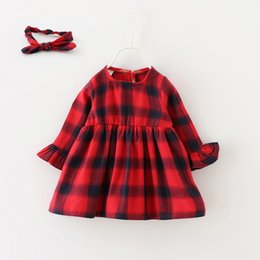 Wholesale Baby Girls Red Checker Dresses Kids Autumn Boutique Clothing Korean Style Years Old Little Girls Long Sleeves Dresses