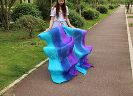 2016 High selling 100% Real Silk Veils 1 Pair handmade women Quality Silk Belly Dance Fan Dance purple blue turquoise Vertic color 180*90 cm