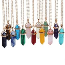 Wholesale 2016 multicolor Bullet Shape Natural Stone Pendant Hexagonal Prism Quartz turquoise Crystal gems necklace Jewelry for women men Gold Silver