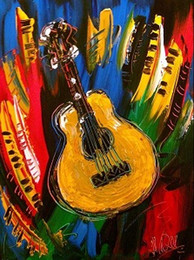 Wholesale guitar Pure Hand Painted Modern Abstract Art Oil Painting On Canvas any customized size accepted righ