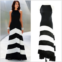 2016 Women Hot Fashion Black and White Stripe Splicing Backless Sleeveless Dresses Floor Length Long Casual Party Maxi Dress
