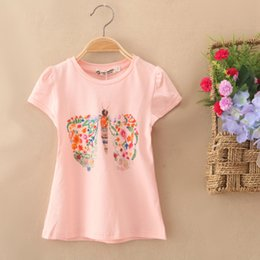 Wholesale The new girl s T shirt cotton Four color The butterfly printing design sequins Soft Breathable absorbent Pure color undertakes to