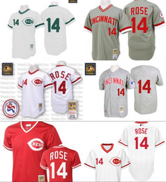Wholesale Red white Throwback Pete Rose Authentic Jersey Men s Mitchell And Ness Grey Cincinnati Reds Turn Back The Clock