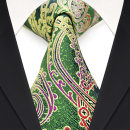 Wholesale F9 Multicolor Green Yellow Paisley Floral Mens Ties Neckties 100% Silk Jacquard Woven Exquisite Suit Gift For Men