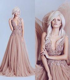 Wholesale Elegant D Lace Applique Formal Evening Dresses Elie Saab Deep V Neck Best Prom Dresses A Line Sweep Train Beads Pageant Gown