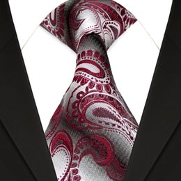 F13 Wholesale Red Burgundy Gray Grey Paisley Men's Ties Neckties 100% Silk Jacquard Woven Handmade Free Shipping