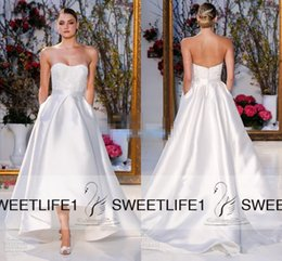 Wholesale 2016 Anne Barge A Line Satin Wedding Dresses Custom Made Sweetheart Neckline Open Back Hi Lo Lace Modest Bridal Gowns with Pockets Elegant