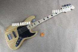 Wholesale Custom RARE Ash Wood Body Natural Strings Electric Bass Guitar Active Pickups Maple Neck Black Pearloid Block Fingerboard Inlay
