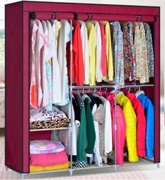 Wholesale 63 quot Steel Portable Wardrobe Home Clothes Rack Shelves Closet Storage Organizer