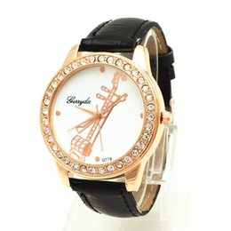 Wholesale PVC leather band gold plating alloy round case crystal circle on case musical instrument UP dial Gerryda fashion woman lady quartz watch